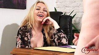Secretary Penny Lee enjoys adhering her VIP stroking his penis
