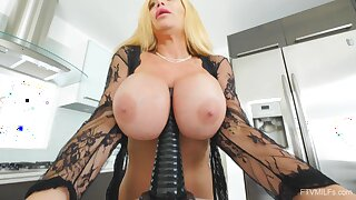 Cock hungry mature Tyler takes a massive dildo in her wet cunt