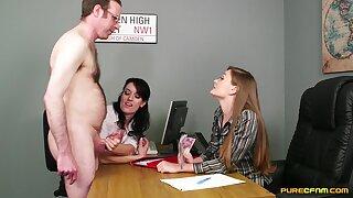 Sexy girls Fancy Mau increased by Jasmine Lau give a handjob to a guy