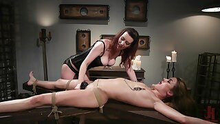 Lezdom stint takes a kinky weave for Domme Cherry Torn and Zoe Sparx