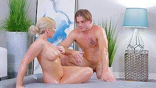 Busty blonde MILF wants the masseur inside the brush