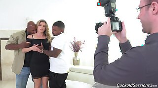 Two black dudes with monster dicks fuck busty slut Cory Chase