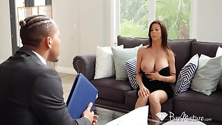 Hot student's mommy Alexis Fawx spreads wings around freely and teases with ambrosial pussy upskirt