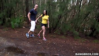 MILF Kendra Lust plays with her move boobs during outdoors sexual relations