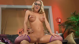 Horny dude fucks her tiny holes then cums on her glasses