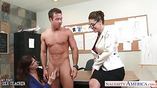 Art teacher and her student fuck interesting nude model Chad White