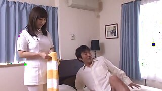Slutty Asian trouble oneself gets horny and starts sucking a hairy penis