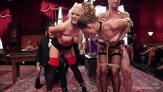 Naked women posing hot and submissive during insane orgy