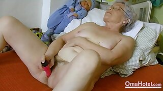Amateur grandma is playing naked with her hairy pussy and favourite toy Find this video on our network Oldnanny.com