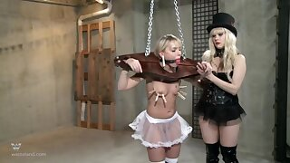 Strong BDSM femdom with clamping and verge on irritant fucking