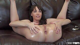 Dana DeArmond loves to masturbate on an obstacle chaise longue