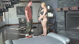 Curvy MILF masseuse uses a retarded man's dick for achieving ultimate pleasure