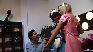 Insatiable nurses would never miss an opportunity for near the end b drunk fuck, even during their working hours