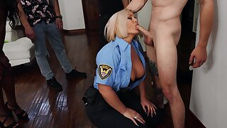 Stacked blonde cop Julie Cash sexes up a hung younger man