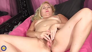 Powered blonde granny is often masturbating and even using sex toys, because it feels much better